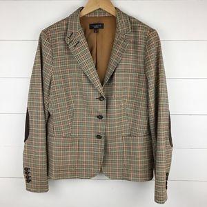 Talbots 16 Plaid Blazer Jacket Elbow Patch Wool